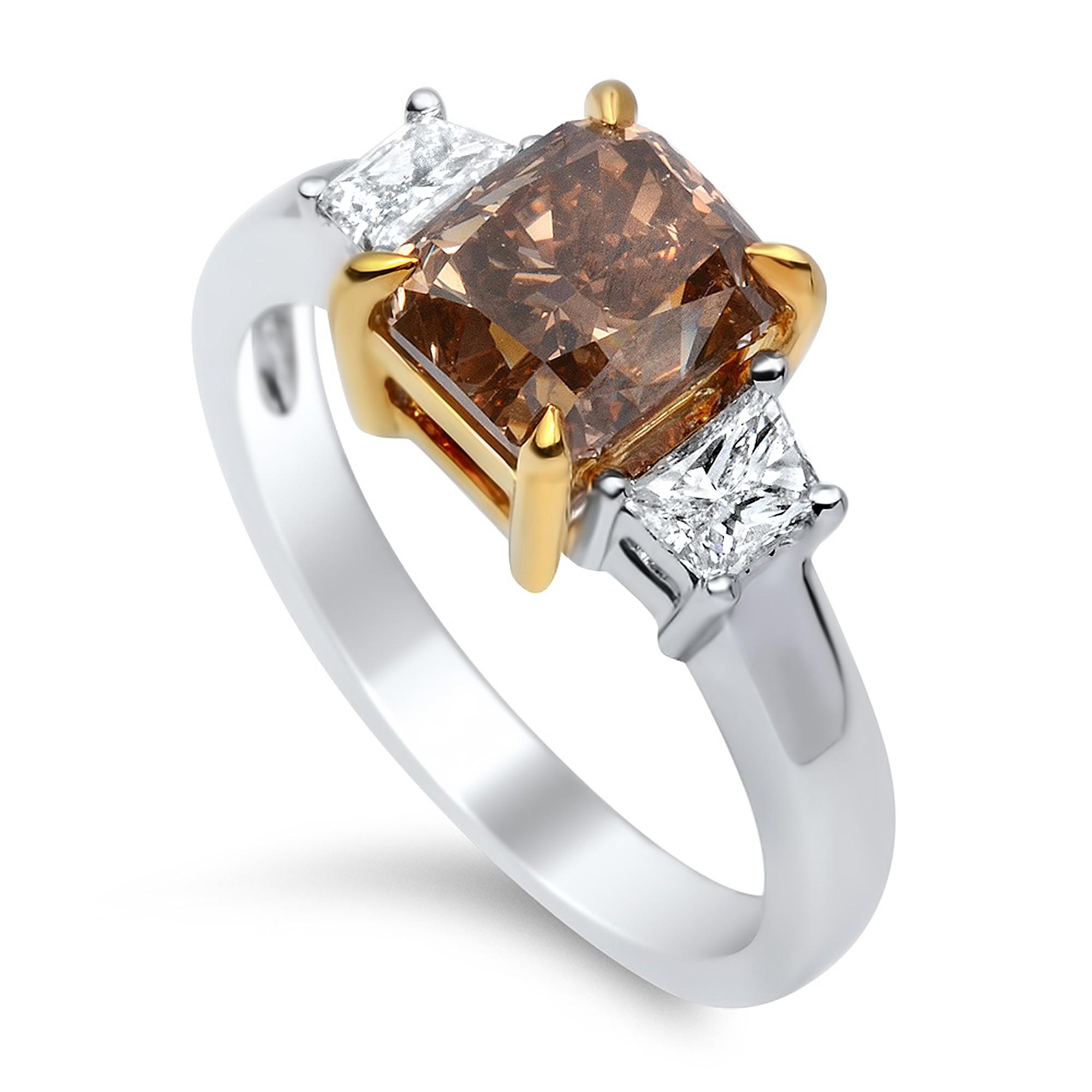 2.72 Carat Fancy Dark Orangy Brown Diamond Ring in 18K Two-Tone Gold