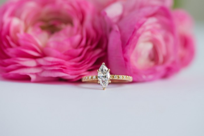 marquise engagement ring in gold