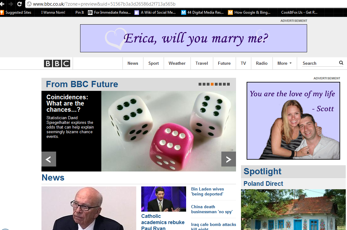 Image 1 of Erica and Scott: Banner Ad Marriage Proposal
