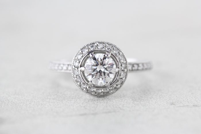 vintage round halo engagement ring