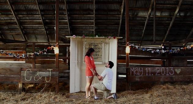 proposal at a barn