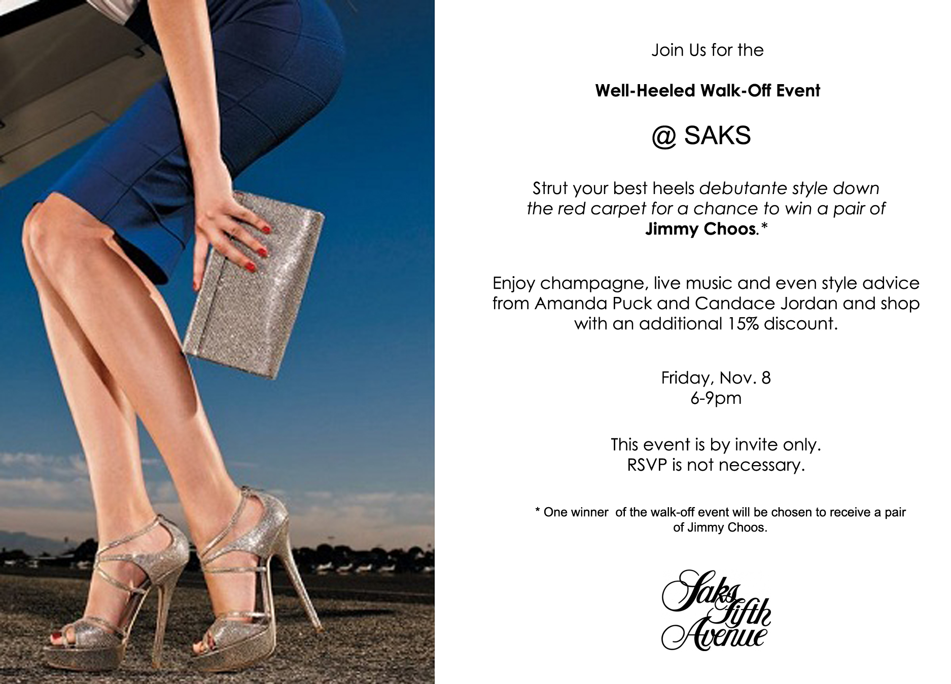 Saks Walk-Off Event flyer
