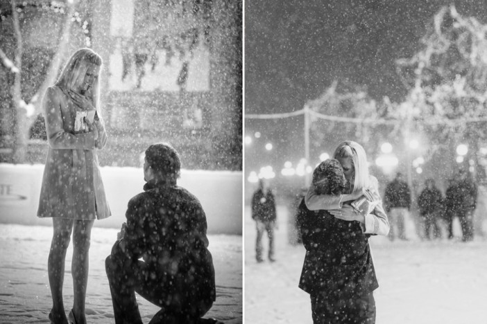 amazing proposal in the snow