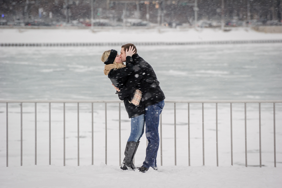 Image 1 of A Snowy Proposal in Chicago