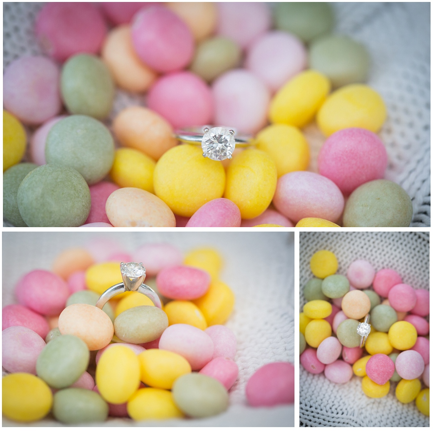 engagement ring in candy