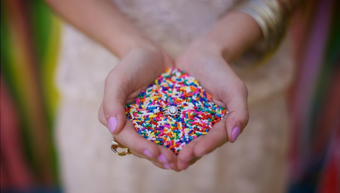 engagement ring in sprinkles