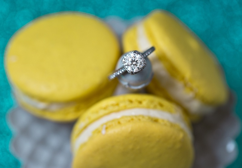 maccroons and engagement ring