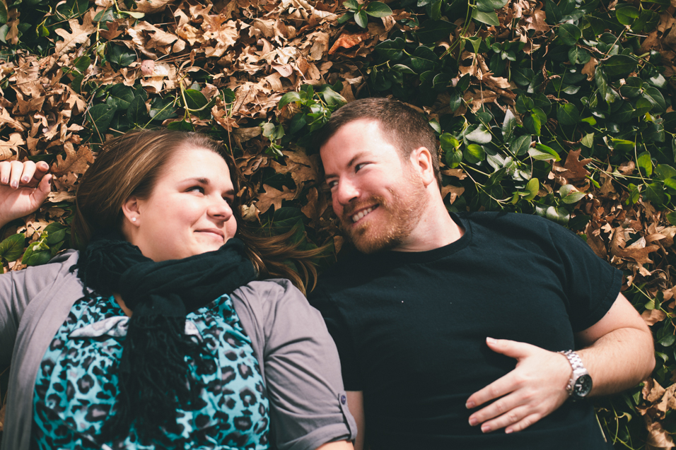 sweet engagement photo in leaves