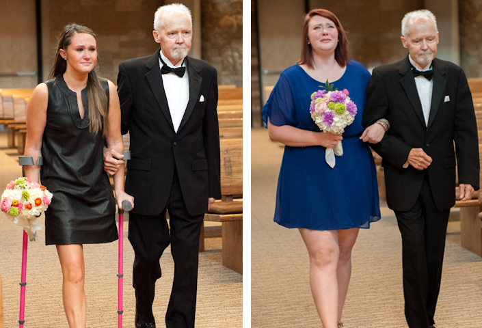 Image 1 of Dying Dad Walks Unmarried Daughters Down the Aisle