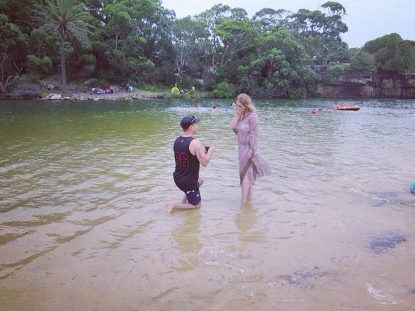 Bride's Proposal in Wattamolla Royal National Park, Sydney.