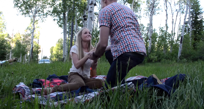 little boy helps dad make proposal video