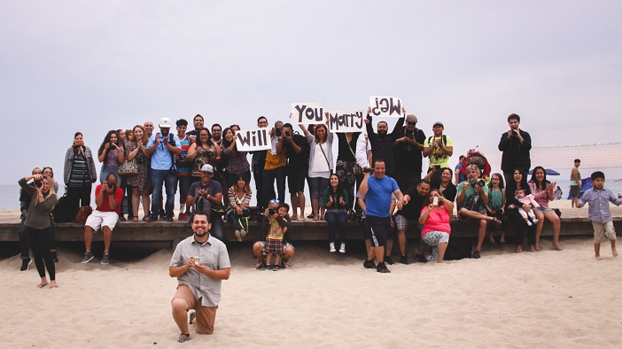 Los Angeles Marriage Proposal during a Group Photo