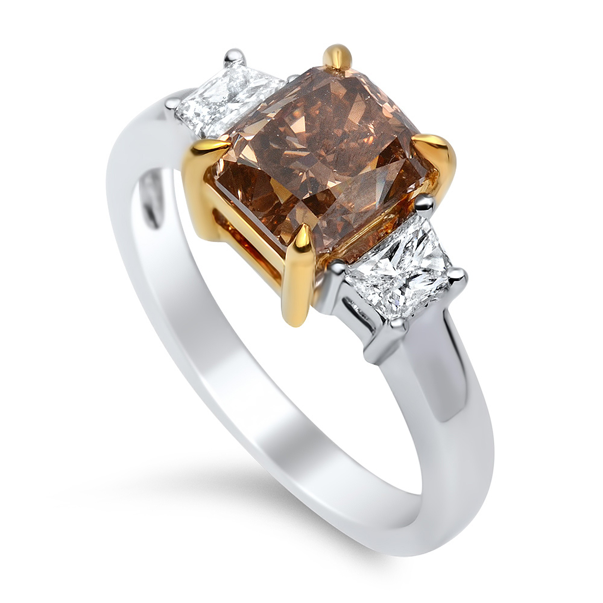 2.72 Carat Fancy Dark Orangy Brown Diamond Ring in 18K Two-Tone Gold (1)