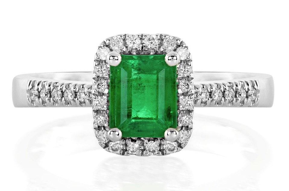 Natural Emerald and Diamond Halo Ring in 18K White Gold (1)