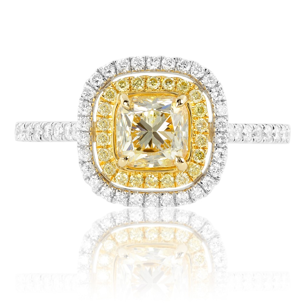 Vintage Inspired Yellow Diamond Ring in 18K Two-Tone Gold