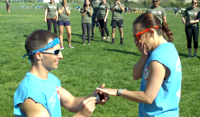softball game marriage proposal