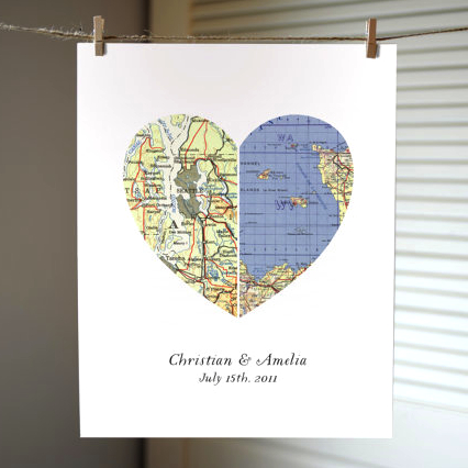 The best engagement gift ideas heart map print negle Choice Image