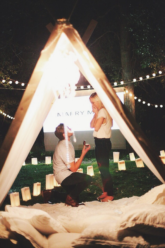 tent teepee marriage proposal