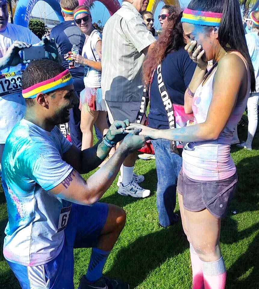 Color Run Marriage Proposal