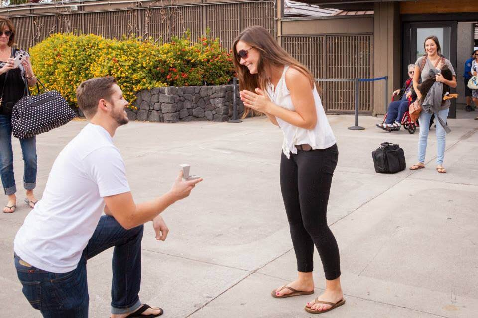 Image 2 of Macy and Taylor's Airport Surprise Proposal in Hawaii