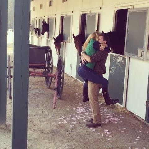Proposal at her Horse's Stable