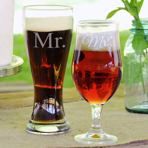 Mr and Mrs Beer Glass Set