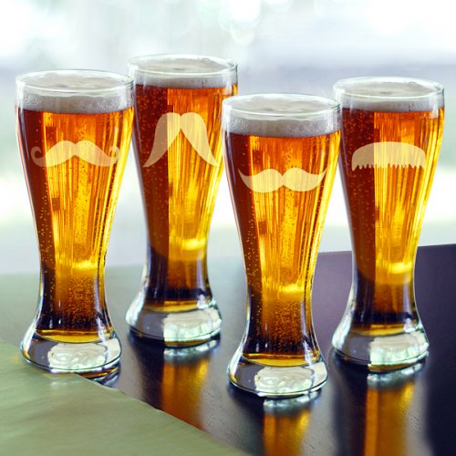 Mustache Pilsner Glass Set