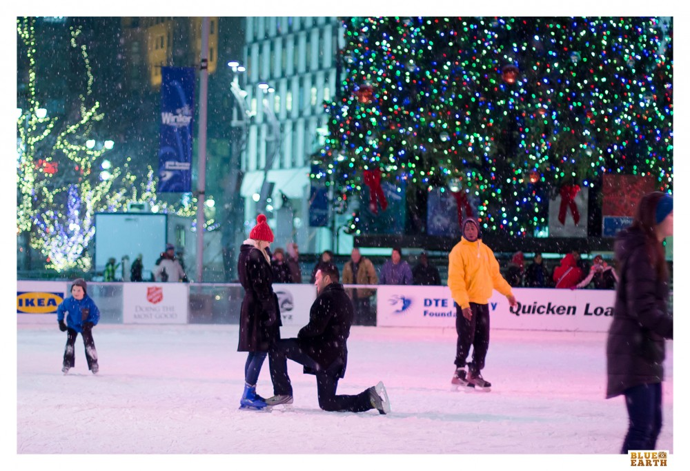 Image 1 of Ali and Alex's Snowy Ice Skating Proposal