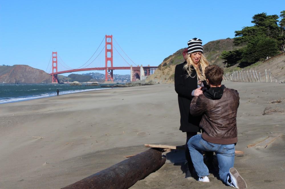 same wedding proposal photographer baker beach francisco