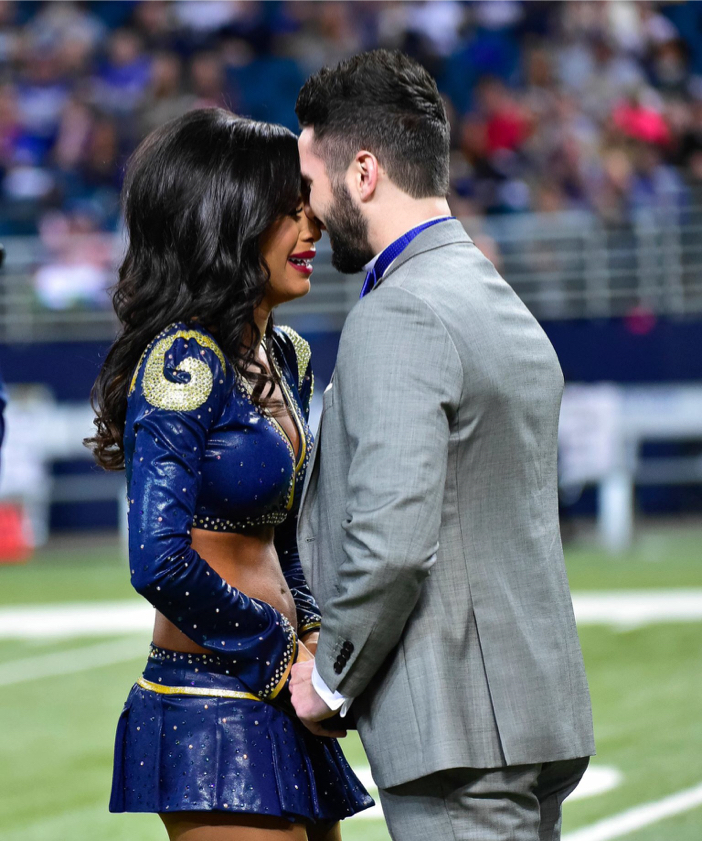 St Louis Rams Cheerleader Gets Amazing On Field Surprise