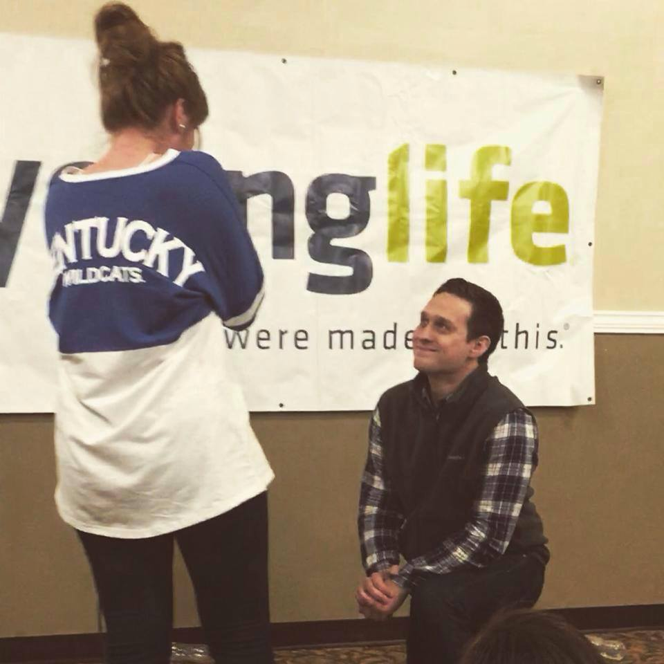 Image 1 of Laura and Jon's Proposal at a Young Life Club Event