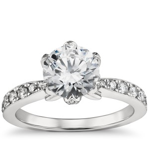 Monique Lhuillier Petal Pavé Diamond Engagement Ring