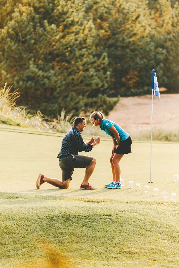 Image 1 of Adorable Proposal at the 18th Hole