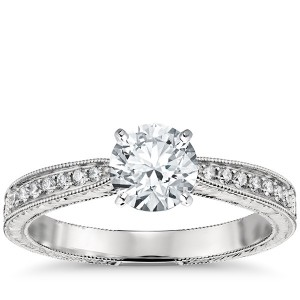 Hand Engraved Micropavé Diamond Engagement Ring