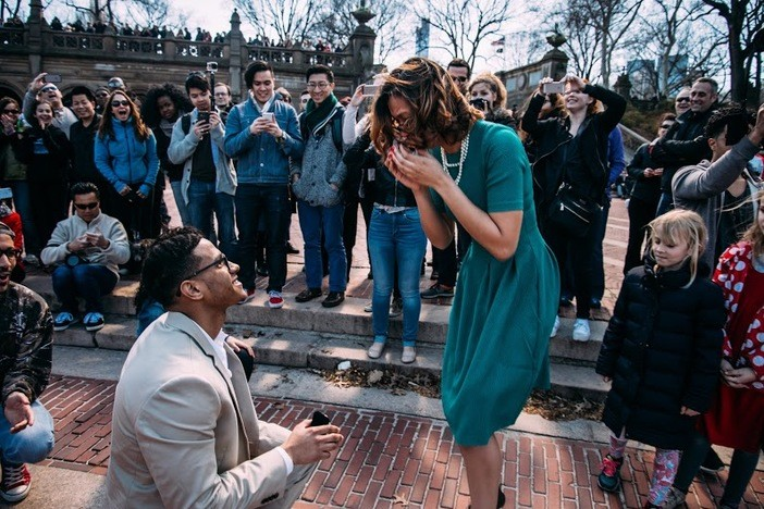 Dancers Help with Surprise Proposal in Central Park
