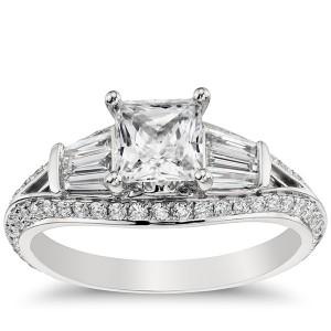 Monique Lhuillier Tapered Baguette Diamond Engagement Ring