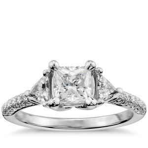 Monique Lhuillier Trillion Cut Diamond Engagement Ring