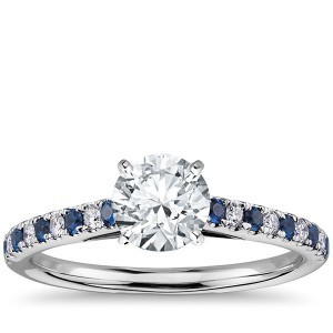 Riviera Micropavé Sapphire and Diamond Engagement Ring