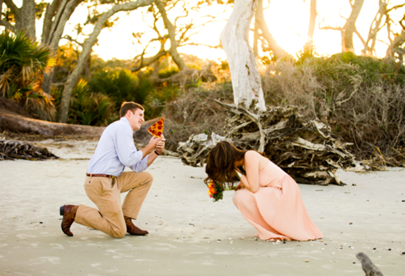 Image 4 of Proposal Photos Are Way Better When Engagement Rings Are Replaced With Pizza