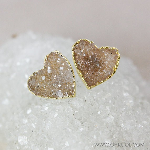 Druzy Heart Earrings