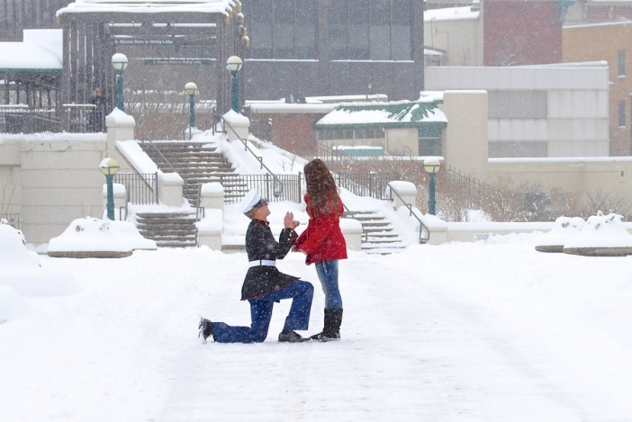 A snowy photoshoot turns into a surprise marriage proposal for Surprise engagement photo shoot