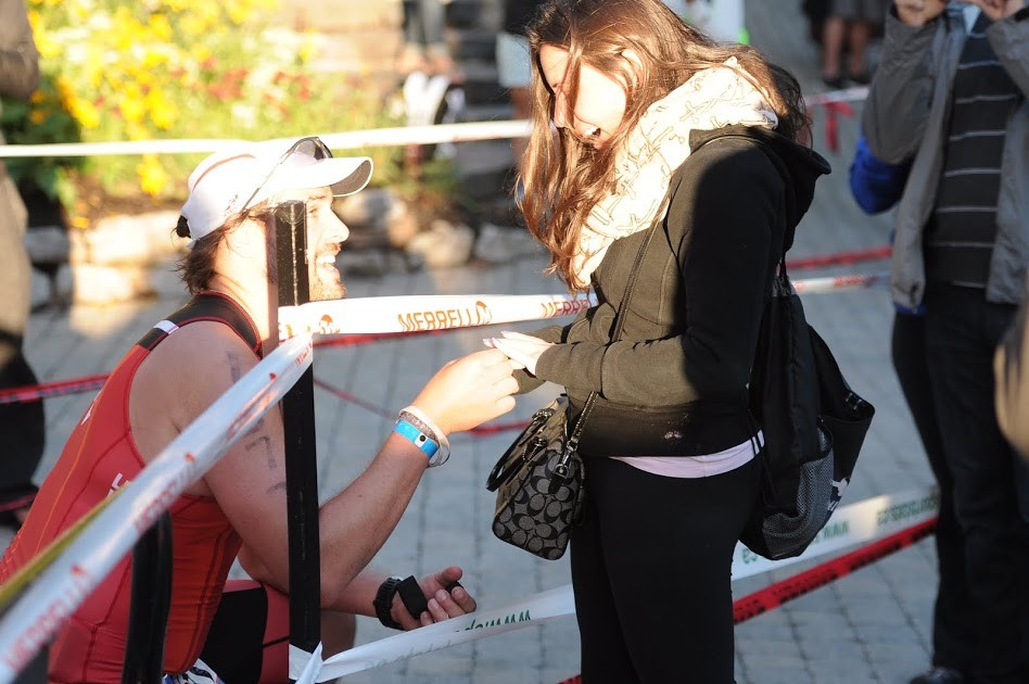 Marriage Proposal at an Ironman Finish Line