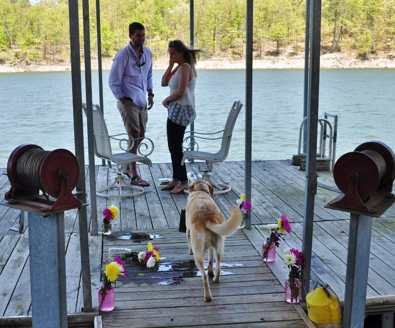 Sarah and Chris Surprise Marriage Proposal on Dock (2) (800x664)