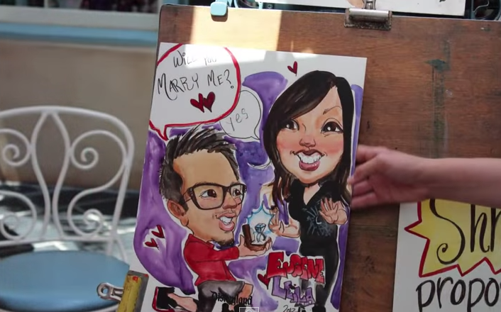 Image 1 of Lei and Gene's Disneyland Caricature Marriage Proposal