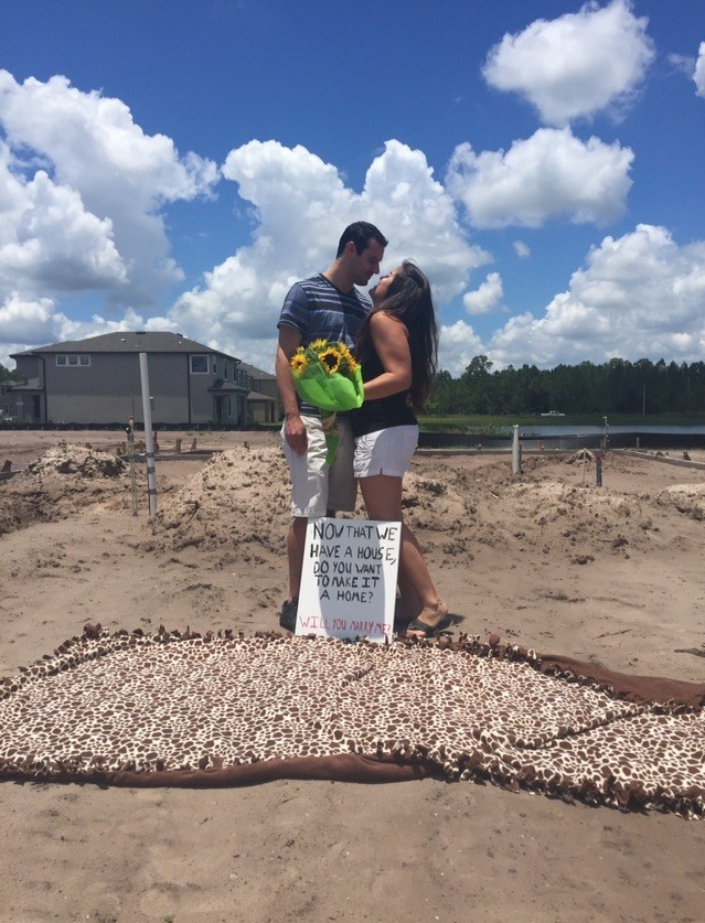 Bride's Proposal in In the foundation of our new home in lutz, fl