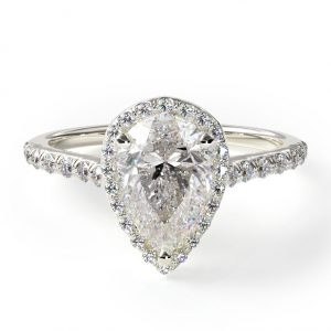 Pave Halo and Shank Diamond Engagement Ring