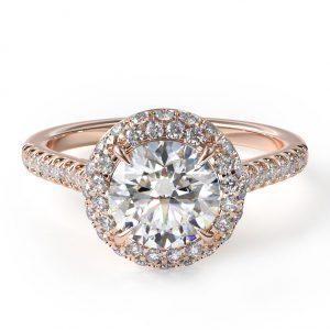 Falling Edge Pave Diamond Engagement Ring