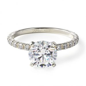 Thin French-Cut Pave Set Diamond Engagement Ring