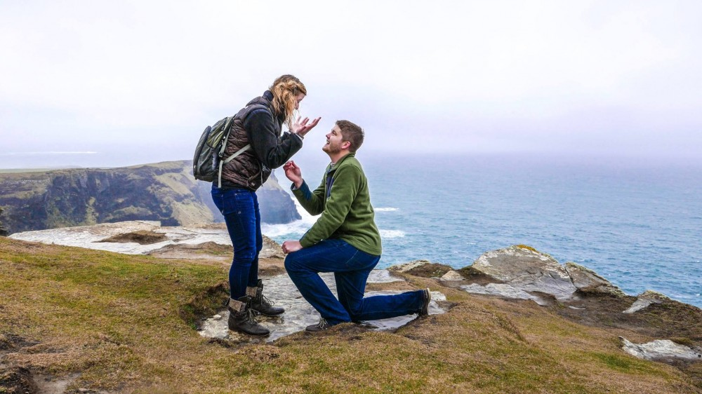 Image 3 of Maggie and Joshua's Marriage Proposal at the Cliffs of Moher