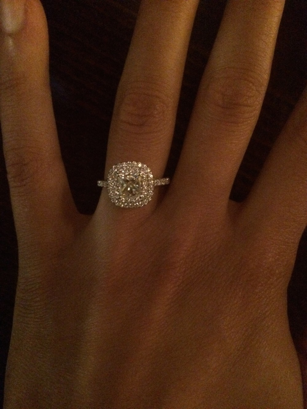 James Allen 18K White Gold Diamond Split Shank Double Halo Pave Engagement Ring
